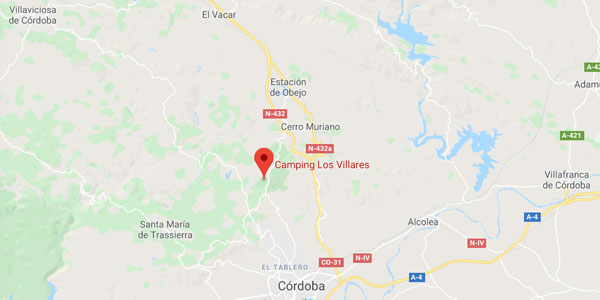 Mapa del camping Los Villares - Córdoba