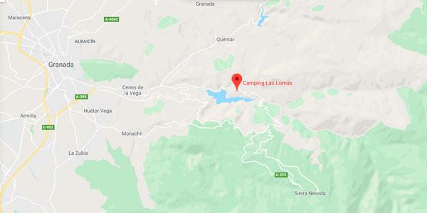 Mapa del camping Las Lomas Sierra Nevada