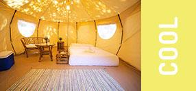 Tiendas de diseño montadas con cama y comodidades para 2 personas modelo Lotus
