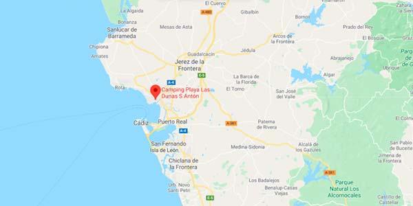 Mapa del camping en el Puerto de Santa María
