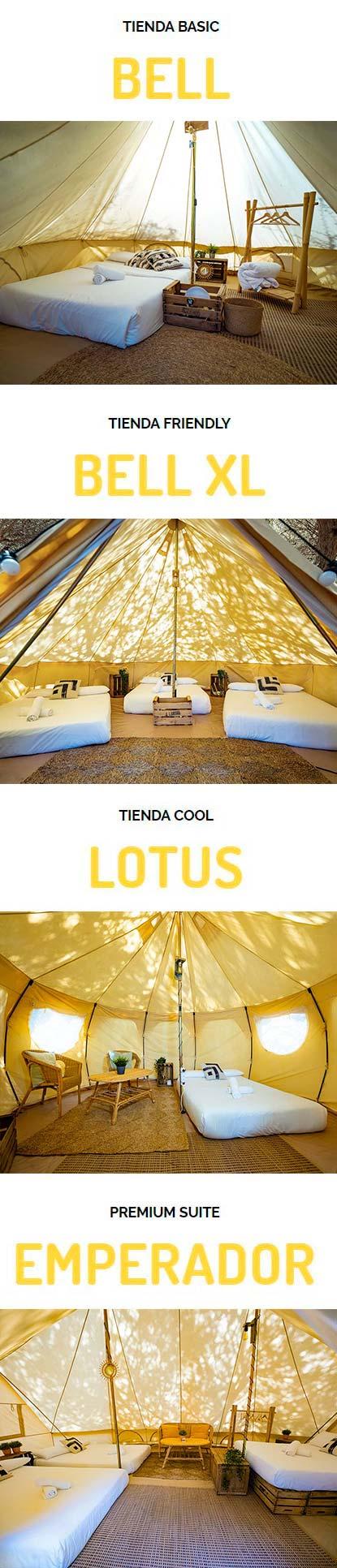 Tiendas de campaña de alquiler montadas con todo incluido: Camping sin líos