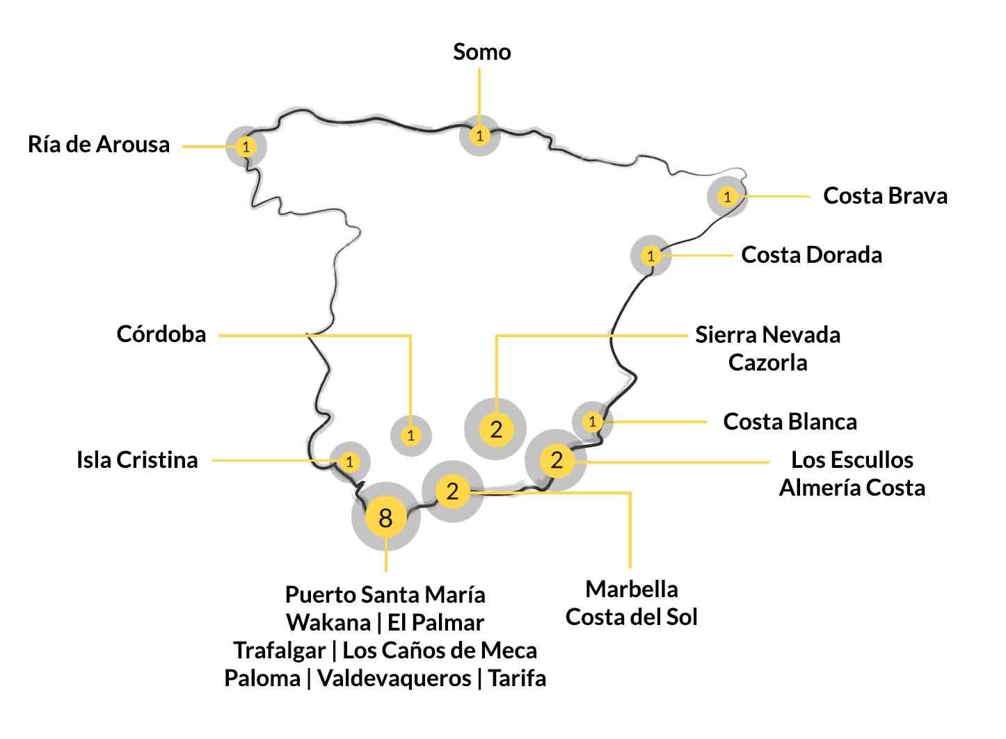 Mapa de campings de España